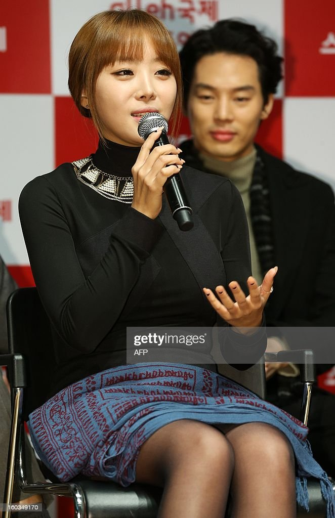 Narsha, a member of South Korea's top girl group band Brown Eyed Girls speaks at a press conference for a smartphone movie festival in downtown Seoul on January 29, 2013. REPUBLIC