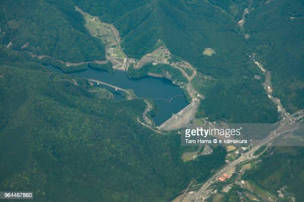 Narufuchi Dam in Fukuoka in Japan daytime aerial view from airplane