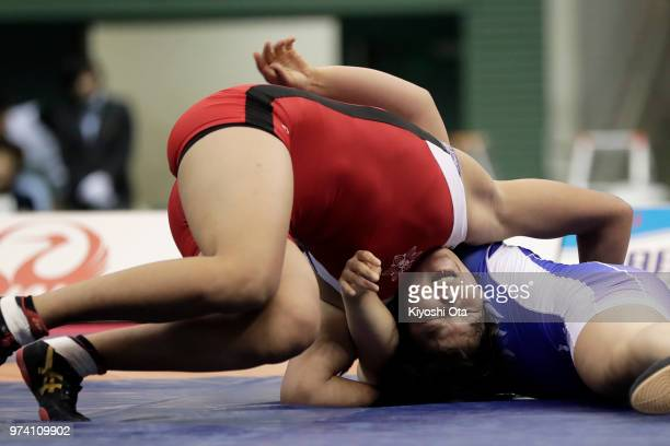 Naruha Matsuyuki competes against Mei Shindo in the Women's 72kg final on day one of the All Japan Wrestling Invitational Championships at Komazawa...