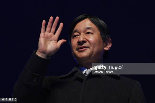 Naruhito, Crown Prince of Japan attends the closing ceremony on the day nine of the 2017 Sapporo Asian Winter Games at Makomanai indoor skating rink...