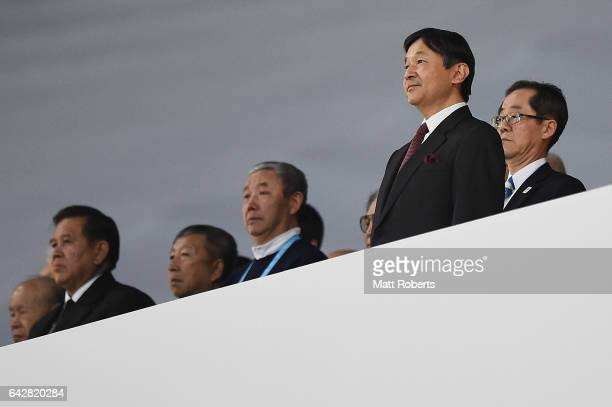 Naruhito Crown Prince of Japan looks on during the Opening Ceremony on day two of the 2017 Sapporo Asian Winter Games at Sapporo Dome on February 19...