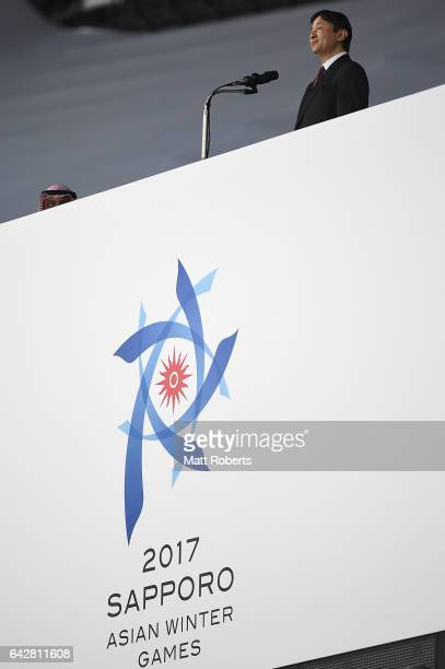 Naruhito, Crown Prince of Japan speaks during the Opening Ceremony on day two of the 2017 Sapporo Asian Winter Games at Sapporo Dome on February 19,...