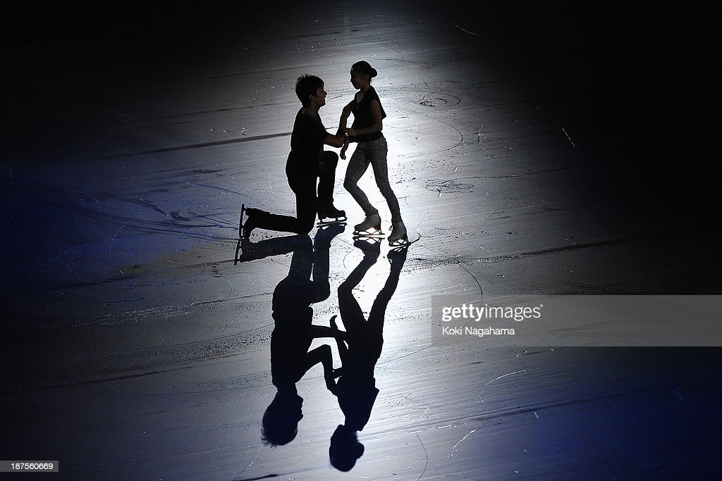 Narumi Takahashi and Ryuichi Kihara of Japan perform in the Gala Exhibition during day three of ISU Grand Prix of Figure Skating 2013/2014 NHK Trophy at the Yoyogi National Gymnasium on November 10, 2013 in Tokyo, Japan.