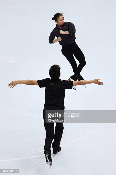 Narumi Takahashi and Ryuichi Kihara of Japan practice their pairs routine ahead of the Sochi 2014 Winter Olympics at Iceberg Skating Palace on...