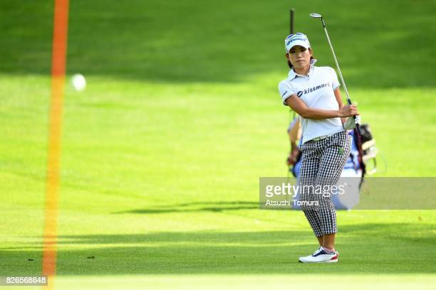 Narumi Yamada of Japan chips onto the 18th green during the second round of the meiji Cup 2017 at the Sapporo Kokusai Country Club Shimamatsu Course...