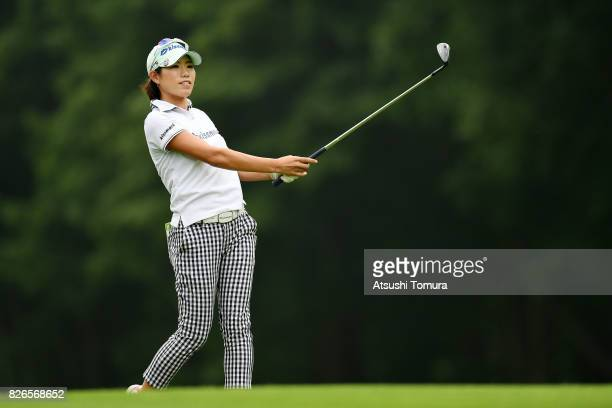 Narumi Yamada of Japan hits her second shot on the 15th hole during the second round of the meiji Cup 2017 at the Sapporo Kokusai Country Club...