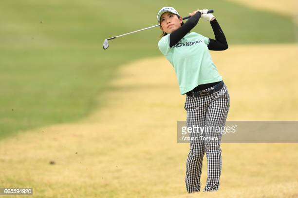 Narumi Yamada of Japan hits her second shot on the 2nd hole during the first round of the Studio Alice Open at the Hanayashiki Golf Club Yokawa...