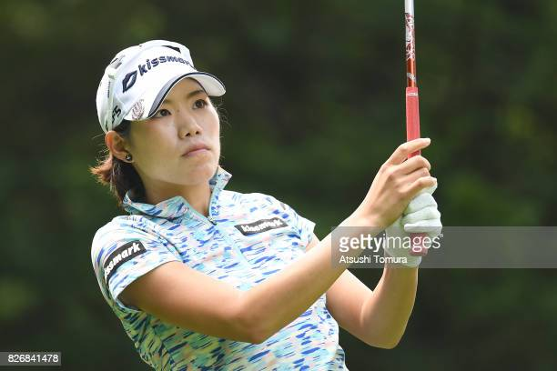 Narumi Yamada of Japan hits her tee shot on the 4th hole during the final round of the meiji Cup 2017 at the Sapporo Kokusai Country Club Shimamatsu...