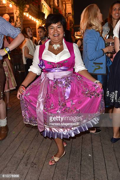 Narumol at the Kaeferschaenke beer tent during the Oktoberfest at Theresienwiese on September 24 2016 in Munich Germany
