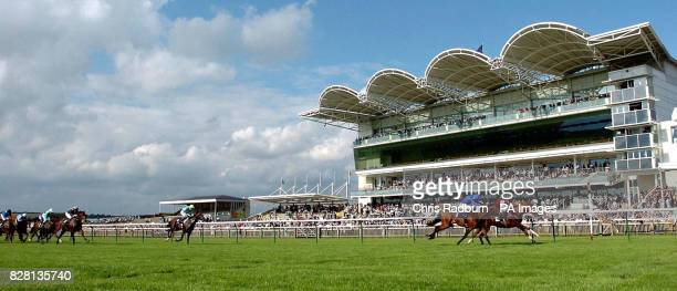 Narvik ridden by Phillip Robinson wins the EBF Maiden Stakes closely followed by Achill Bay ridden by Kerrin McEvoy at Newmarket racecourse Tuesday...