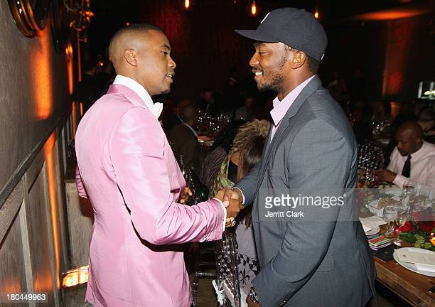 Nas and Anthony Mackie attend Nas 40th Birthday Celebration Dinner And Party at Avenue NYC on September 12, 2013 in New York City.