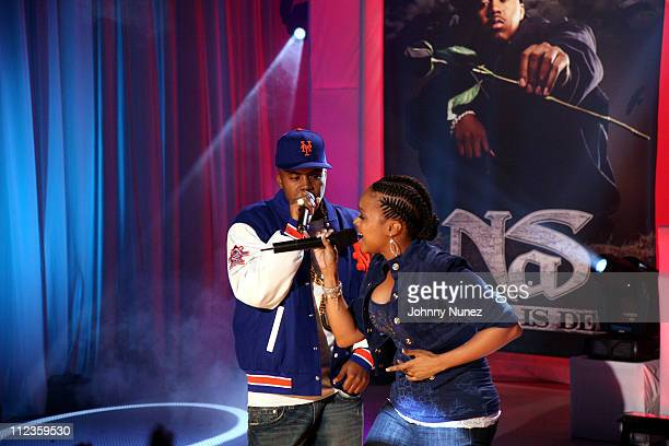 Nas and Chrisette Michele during Nas Private Concert For His New Album Hip Hop is Dead at BET Studios December 13 2006 at BET Studios in New York...
