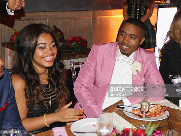 Nas and his daughter Destiny at Nas 40th Birthday Celebration Dinner And Party at Avenue NYC on September 12, 2013 in New York City.