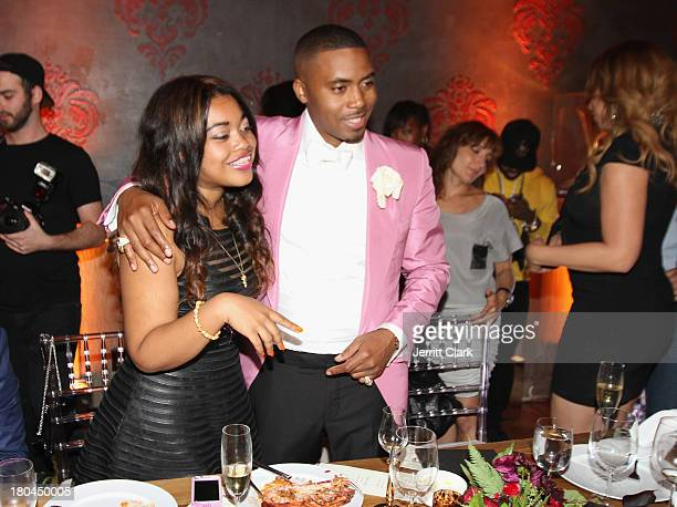 Nas and his daughter Destiny share a laugh at Nas 40th Birthday Celebration Dinner And Party at Avenue NYC on September 12, 2013 in New York City.