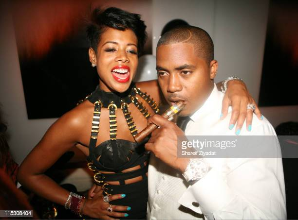 Nas and Kelis during Kelis Birthday Party at 007 in New York United States