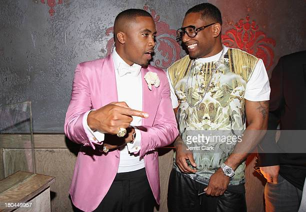 Nas and Maino attend Nas 40th Birthday Celebration Dinner And Party at Avenue NYC on September 12, 2013 in New York City.