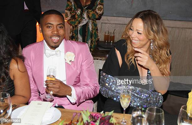 Nas and Mariah Carey at Nas 40th Birthday Celebration Dinner And Party at Avenue NYC on September 12, 2013 in New York City.