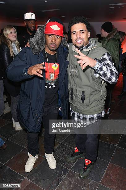Nas and Steven Caple Jr attend 'The Land' party at The Acura Studio at Sundance Film Festival 2016 on January 25 2016 in Park City Utah