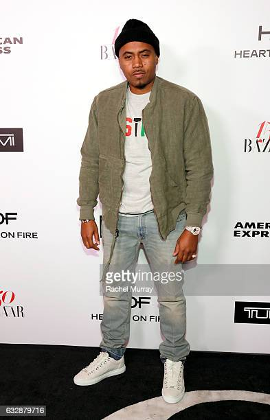Nas attends Harper's BAZAAR celebration of the 150 Most Fashionable Women presented by TUMI in partnership with American Express La Perla and Hearts...
