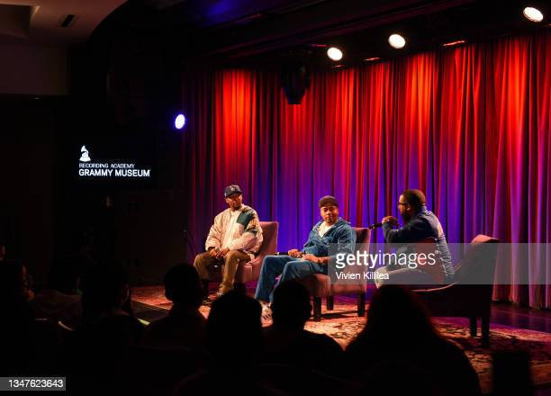 Nas, Carl Lamarre and Hit-Boy speak at The GRAMMY Museum on October 19, 2021 in Los Angeles, California.