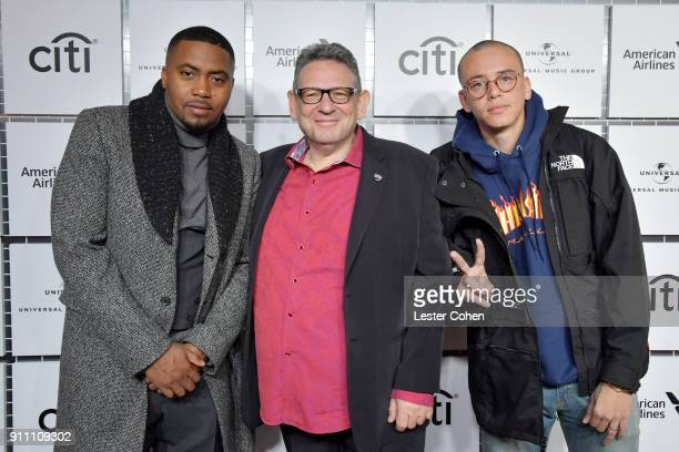 Nas Chairman and CEO UMG Sir Lucian Grainge and rapper Logic attend Sir Lucian Grainge's 2018 Artist Showcase presented by Citi with support from...