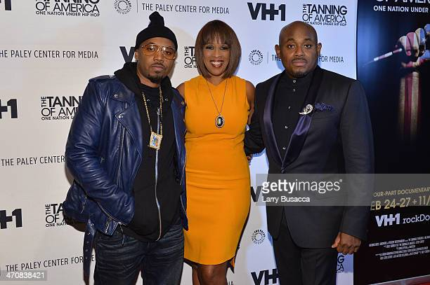 Nas Gayle King and Steve Stoute attend 'The Tanning Of America' premiere screening and party at Paley Center For Media on February 20 2014 in New...
