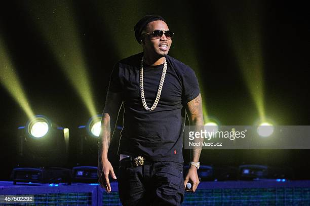 Nas performs at the Hennessy VS presents 'Nas Time Is Illmatic' Los Angeles tour at the Orpheum Theatre on October 18 2014 in Los Angeles California
