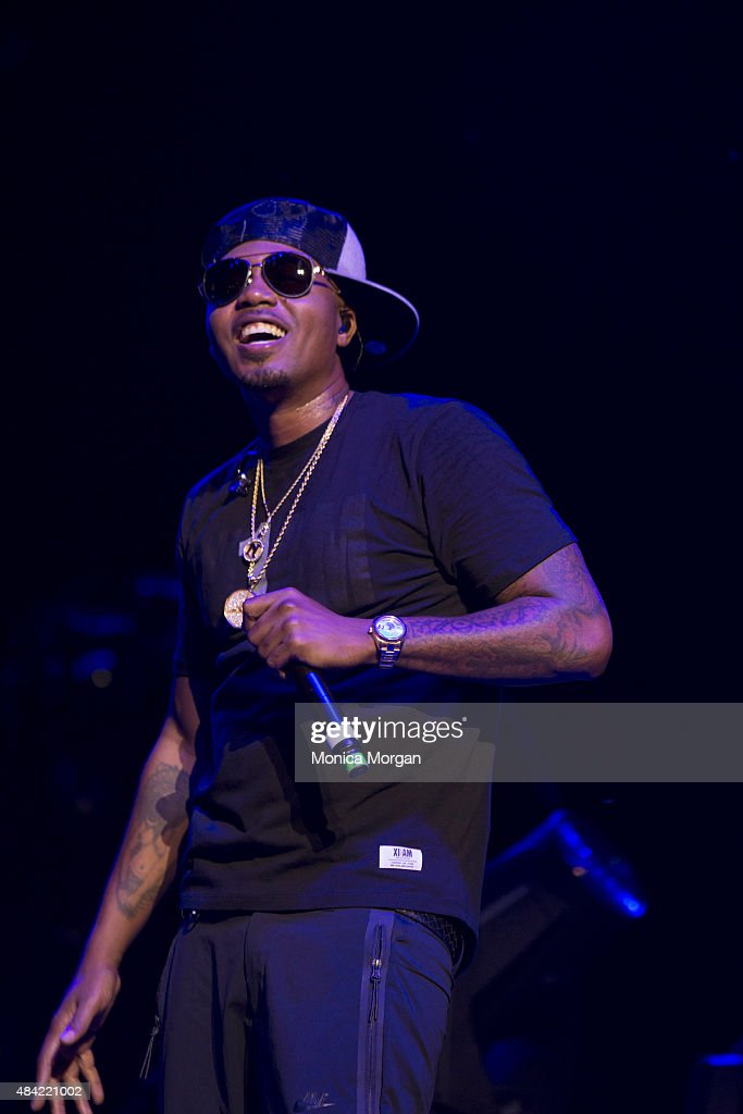 Nas performs on stage at Chene Park Amphitheater on August 15, 2015 in Detroit, Michigan.