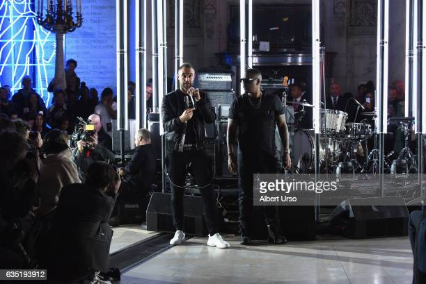 Nas performs on the runway for the Philipp Plein collection during New York Fashion Week The Shows at New York Public Library on February 13 2017 in...