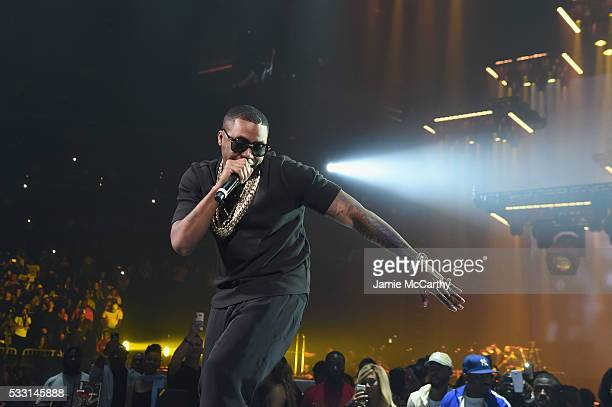 Nas performs onstage during the Puff Daddy and The Family Bad Boy Reunion Tour presented by Ciroc Vodka And Live Nation at Barclays Center on May 20...