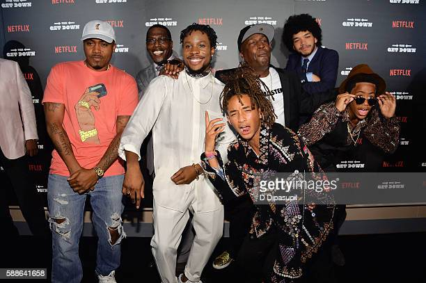 Nas Shameik Moore Jaden Smith Grandmaster Flash Justice Smith and Tremaine Brown Jr attend The Get Down New York premiere at Lehman Center For The...