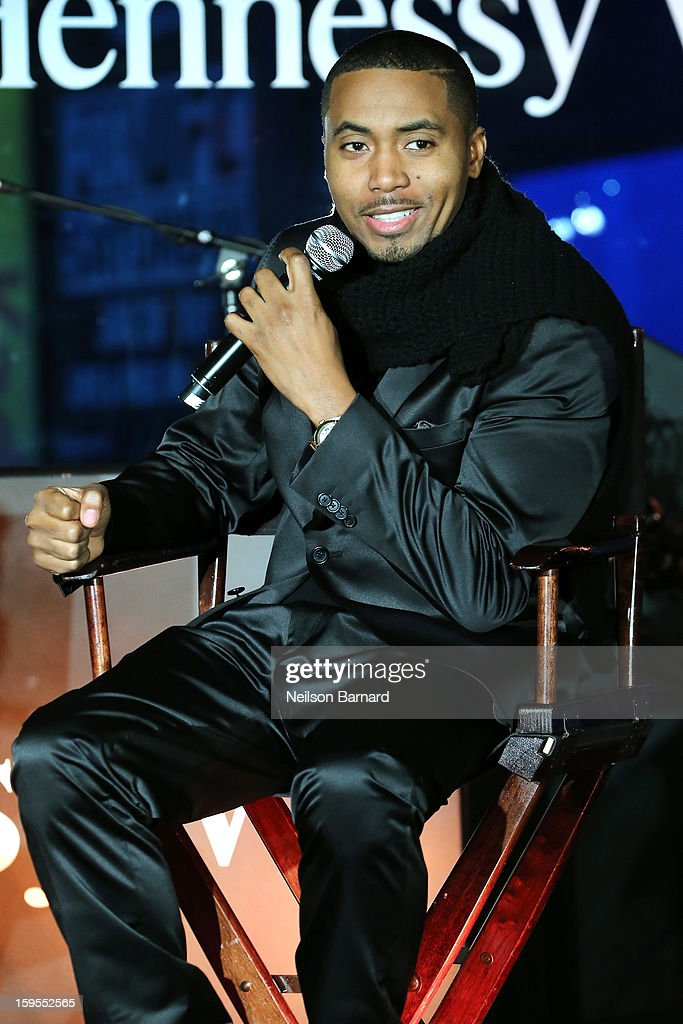 Nas speaks onstage at R Lounge at the Renaissance New York Times Square Hotel on January 15, 2013 in New York City.