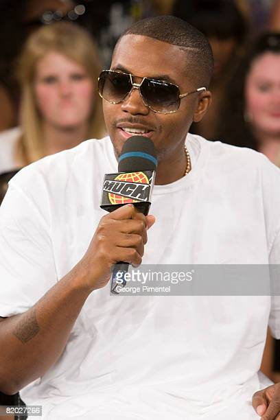 Nas Visits MuchOnDemand at the MuchMusic Headquarters on July 21, 2008 in Toronto, Canada.