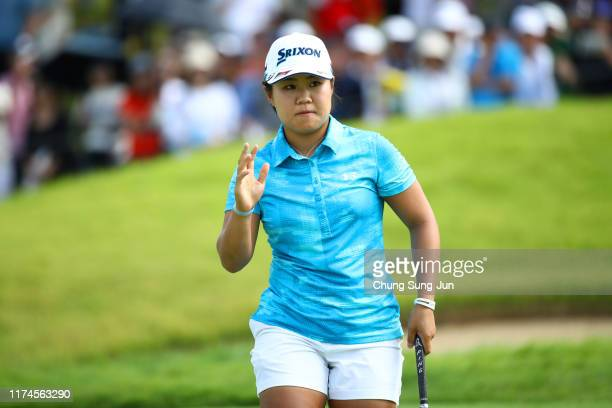 Nasa Hataoka of Japan acknowledges the gallery after the birdie on the 9th green during the third round of the 52nd LPGA Championship Konica Minolta...