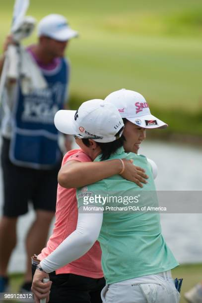 Nasa Hataoka of Japan after her round on the 18th hole during the final round of the 2018 KPMG Women's PGA Championship at Kemper Lakes Golf Club on...