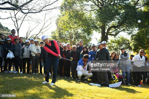 Nasa Hataoka of Japan chips onto the 9th green during the final round of the TOTO Japan Classics 2017 at the Taiheiyo Club Minori Course on November...