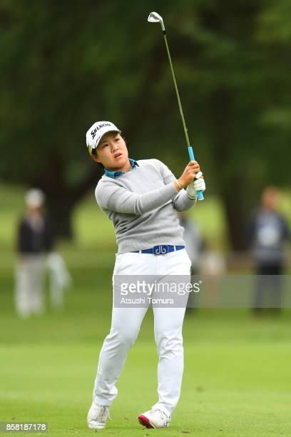 Nasa Hataoka of Japan hits her second shot on the 1st hole during the first round of Stanley Ladies Golf Tournament at the Tomei Country Club on...