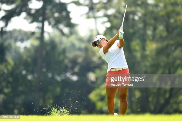 Nasa Hataoka of Japan hits her second shot on the 2nd hole during the final round of Japan Women's Open 2017 at the Abiko Golf Club on October 1 2017...