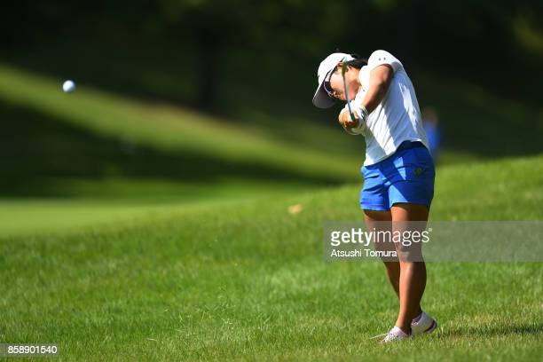 Nasa Hataoka of Japan hits her second shot on the 8th hole during the final round of Stanley Ladies Golf Tournament at the Tomei Country Club on...