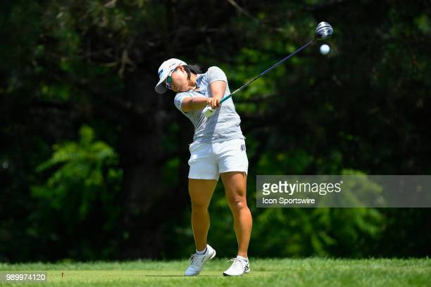 Nasa Hataoka of Japan hits her tee shot on the second hole during the third round of the KPMG Women's PGA Championship on June 30 2018 at the Kemper...