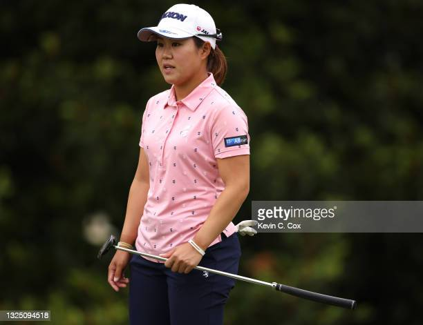 Nasa Hataoka of Japan lines up a putt on the 10th green during a practice round for the KPMG Women's PGA Championship at Atlanta Athletic Club on...