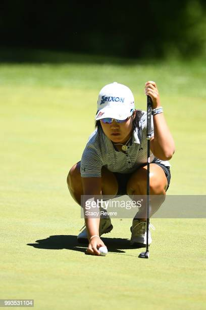 Nasa Hataoka of Japan lines up a putt on the first hole during the third round of the Thornberry Creek LPGA Classic at Thornberry Creek at Oneida on...