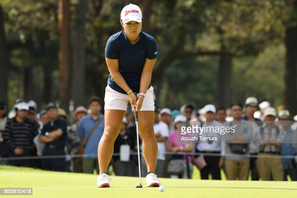 Nasa Hataoka of Japan lines up her putt on the 5th hole during the third round of Japan Women's Open 2017 at the Abiko Golf Club on September 30 2017...