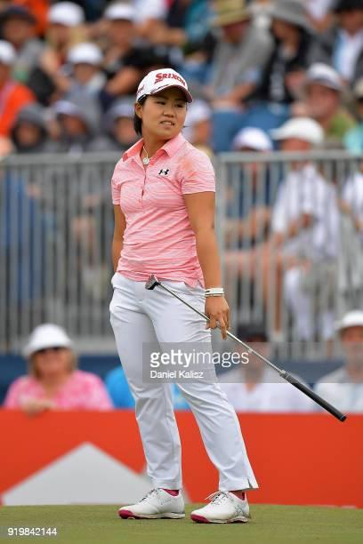 Nasa Hataoka of Japan looks on on during day four of the ISPS Handa Australian Women's Open at Kooyonga Golf Club on February 18 2018 in Adelaide...