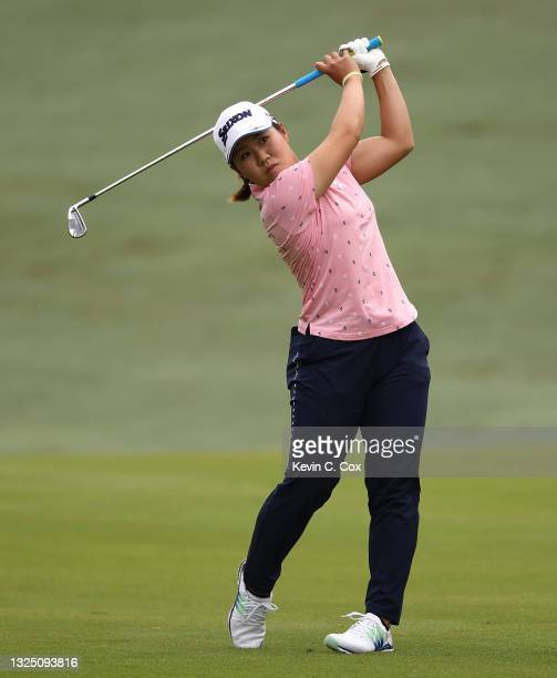 Nasa Hataoka of Japan plays a shot on the 10th hole during a practice round for the KPMG Women's PGA Championship at Atlanta Athletic Club on June...