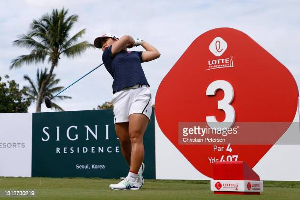 Nasa Hataoka of Japan plays a tee shot on the third hole during the second round of the LPGA LOTTE Championship at Kapolei Golf Club on April 15,...