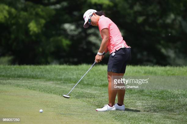 Nasa Hataoka of Japan putts for birdie on the 18th green during the final round of the 2018 KPMG PGA Championship at Kemper Lakes Golf Club on July 1...