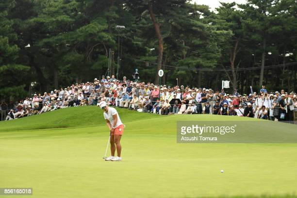 Nasa Hataoka of Japan putts on the 8th hole during the final round of Japan Women's Open 2017 at the Abiko Golf Club on October 1 2017 in Abiko Chiba...