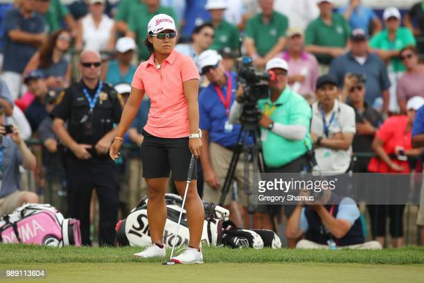 Nasa Hataoka of Japan reacts to a missed putt on the first playoff hole during the final round of the 2018 KPMG PGA Championship at Kemper Lakes Golf...