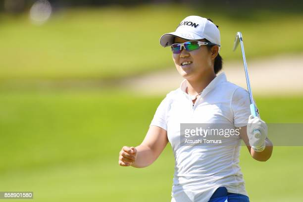 Nasa Hataoka of Japan smiles during the final round of Stanley Ladies Golf Tournament at the Tomei Country Club on October 8, 2017 in Susono,...
